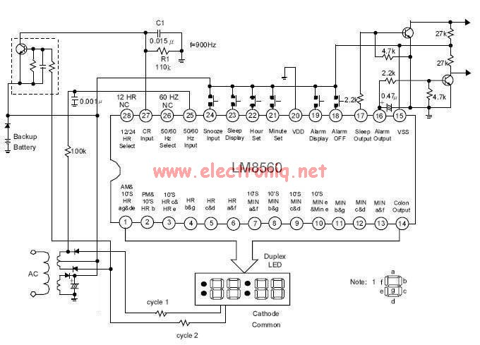 Digital clock alarm based on the Lm8560