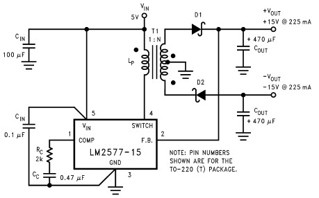 LM1577 LM2577 dual 15V power supply