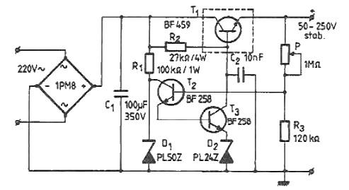 50-250 volts high voltage adjustable regulator circuit
