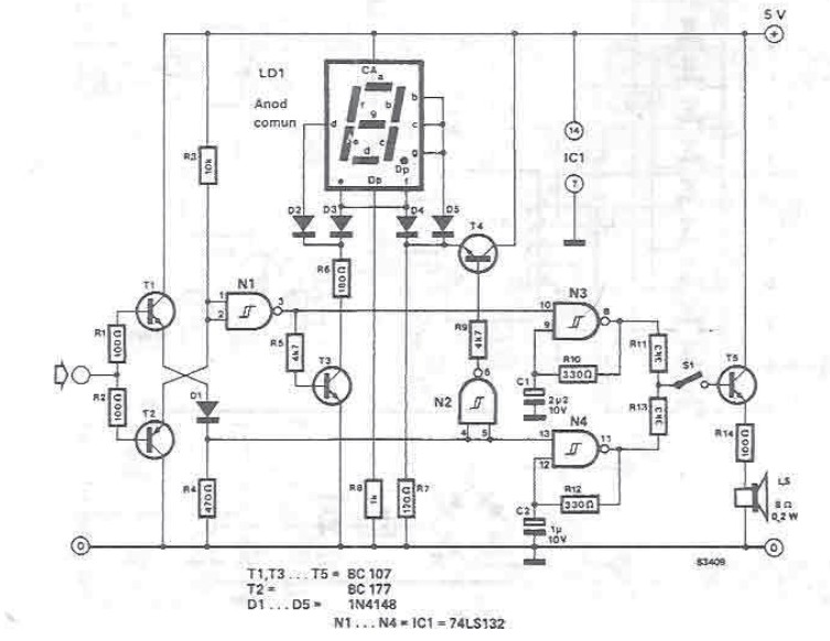 Logic tester with seven-segment display