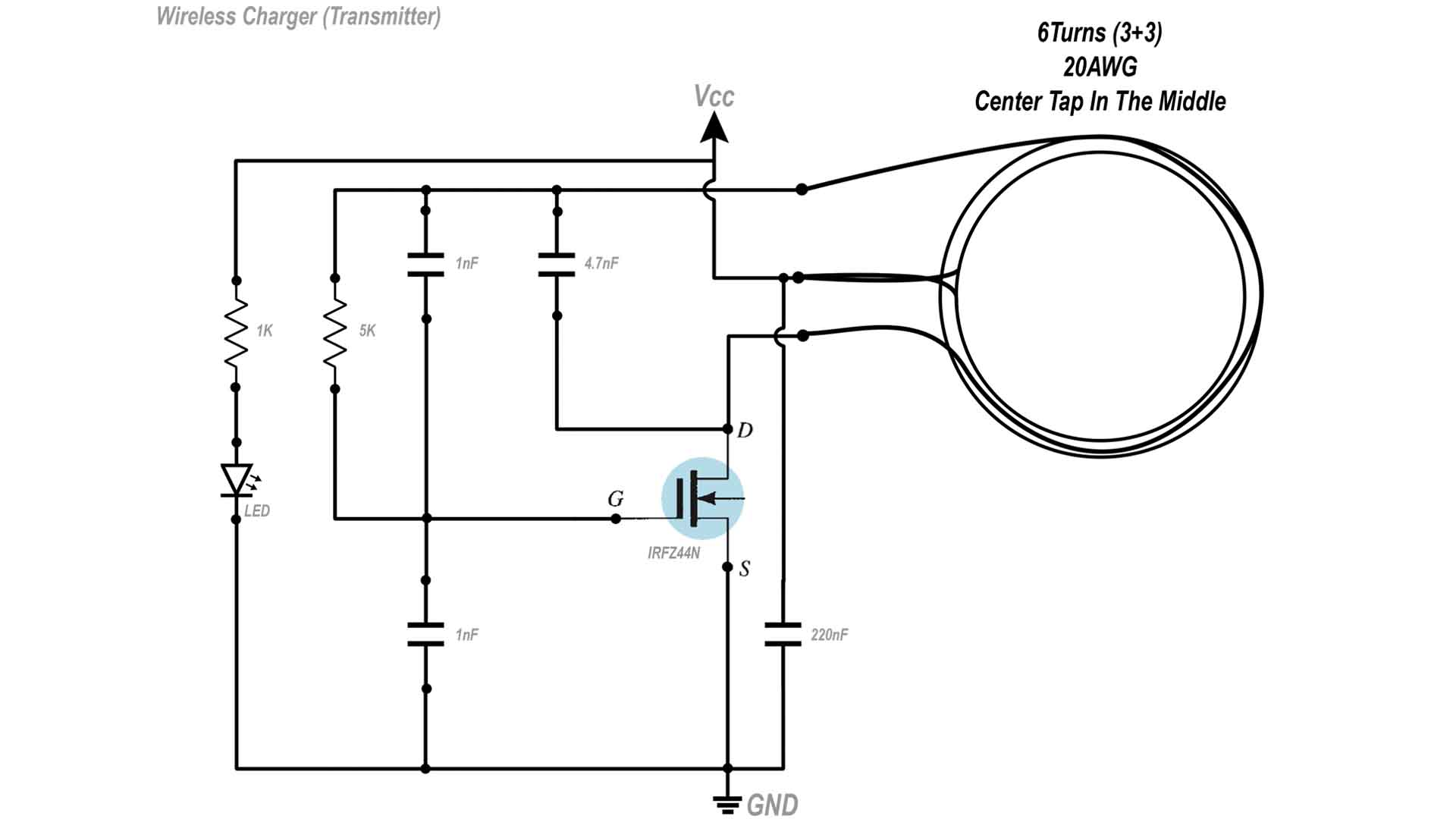 Schematic Transmitter Homemade wireless charger