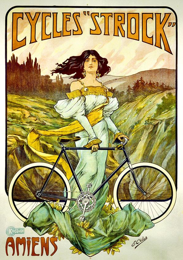 дорожный велосипед постер девушка