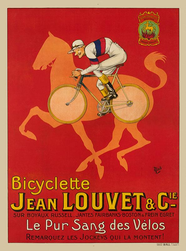 лошадь велосипед постер ретро