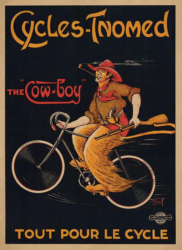 охота на велосипеде постер ретро велосипед кавбой