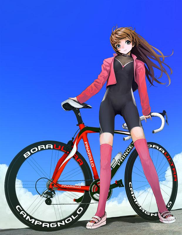 девушка на шоссейном велосипеде аниме