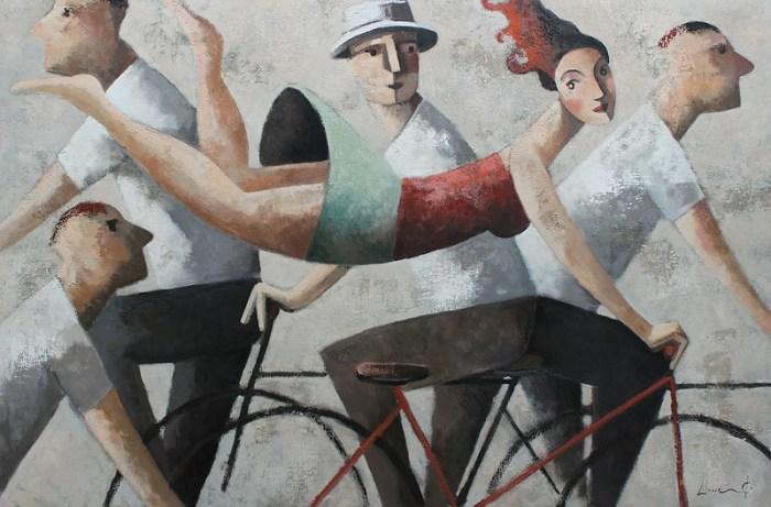 Didier Lourenco картина девушка на велосипеде