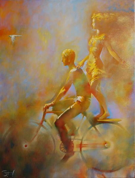 девушка и юноша живопись велосипед