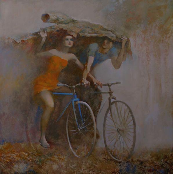 живопись велосипед романтика дождь