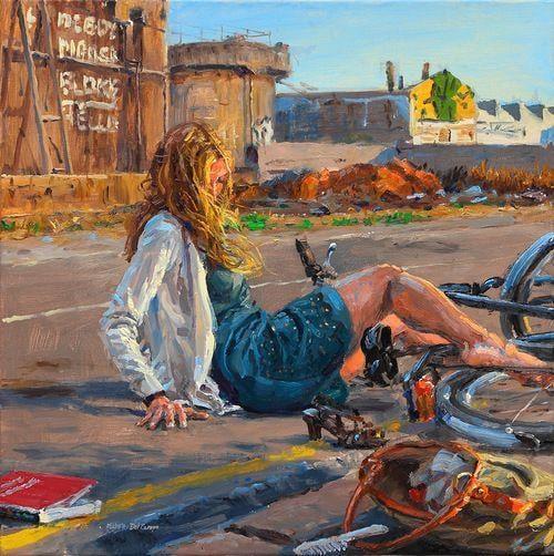 Девушка и велосипед. Живопись. Выпуск №5