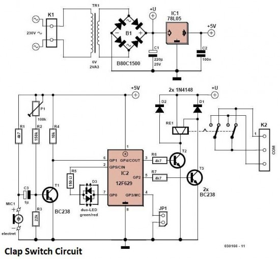 Rwandatechnician.com: Clap Switch circuit diagram
