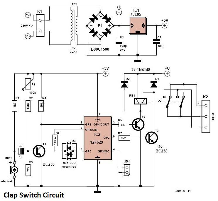 Clap switch circuit schematic