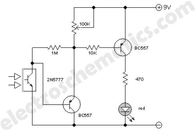 diagram transistor on circuit infrared detector circuit diagram