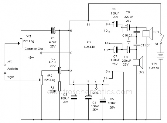 Wiring diagram Ref: LA4440 Stereo Amplifier Circuit