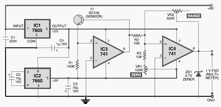 circuit diagram of digital thermometer