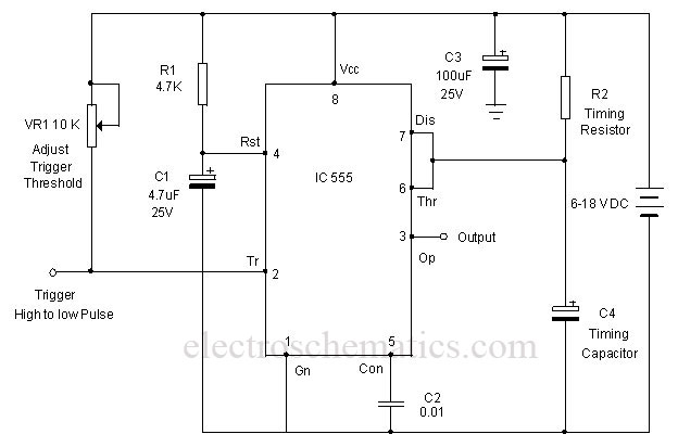 Edge-Triggered 555 Monostable Multivibrator