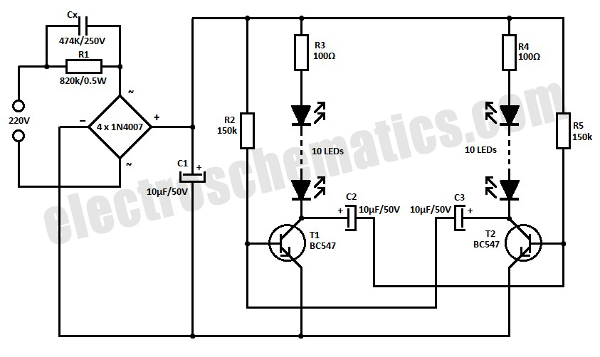 220V LED Blinker Circuit