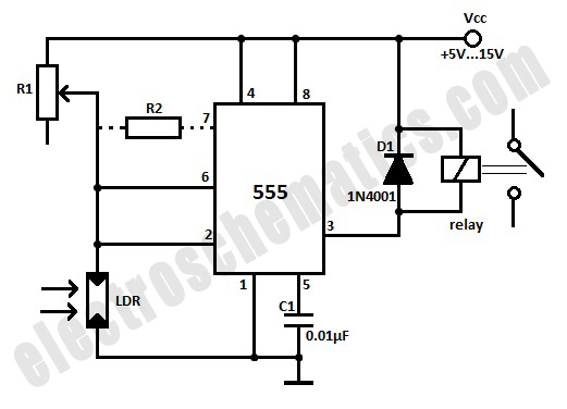Light Activated Relay with 555 ICElectronics Project Circuts