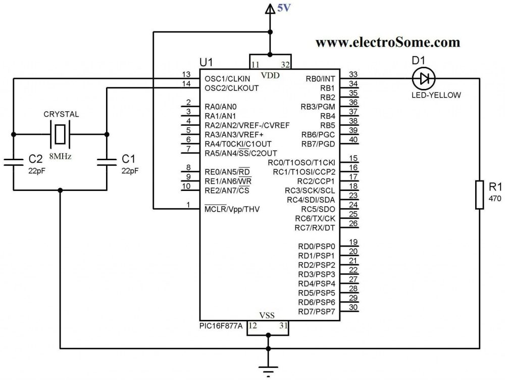 medium resolution of blinking led using pic microcontroller circuit diagram