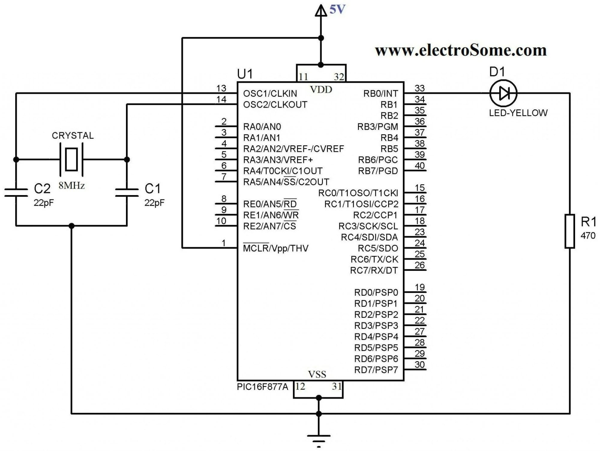 hight resolution of blinking led using pic microcontroller circuit diagram