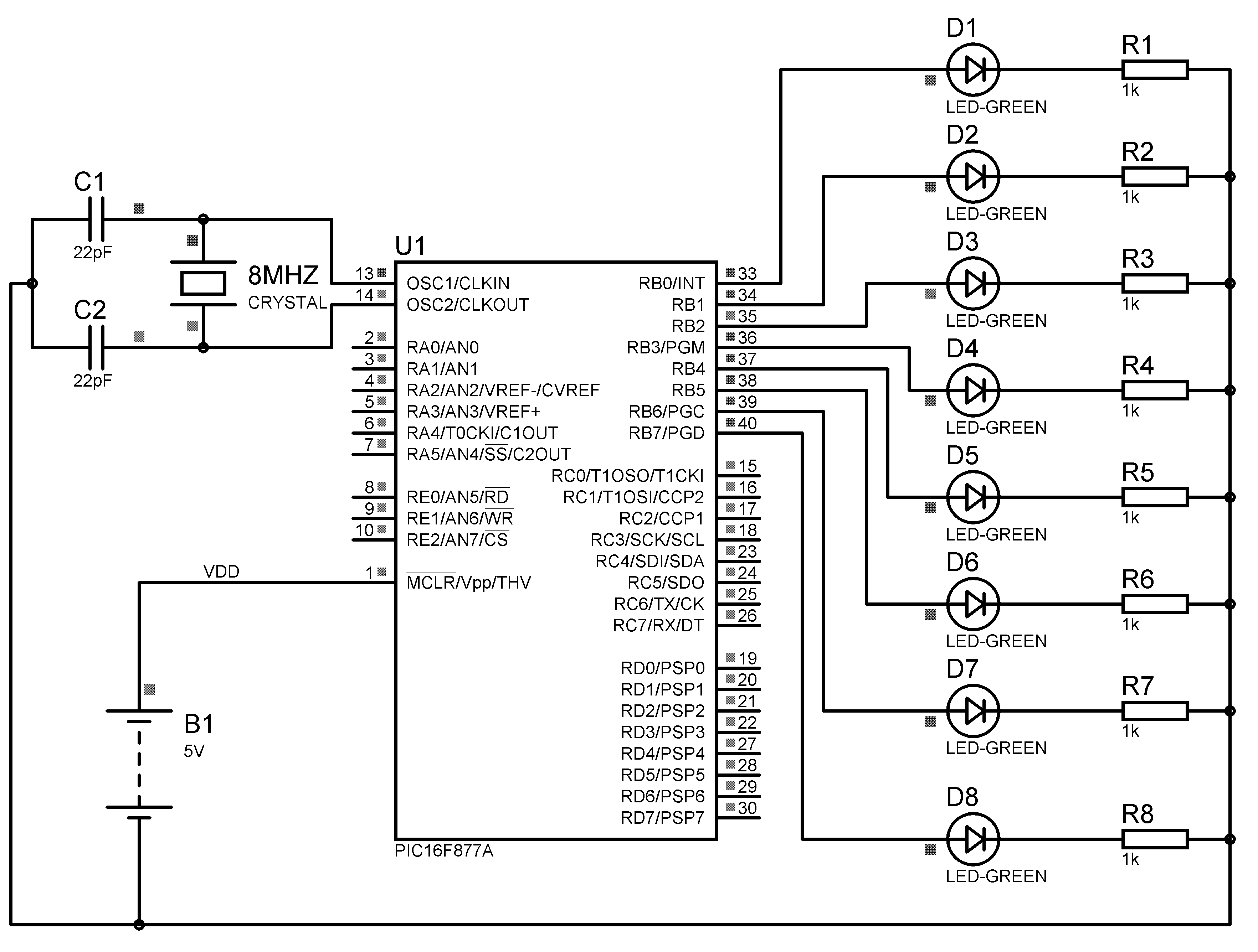 electronic number lock circuit diagram 50 amp rv plug wiring led chaser using pic microcontroller mikroc