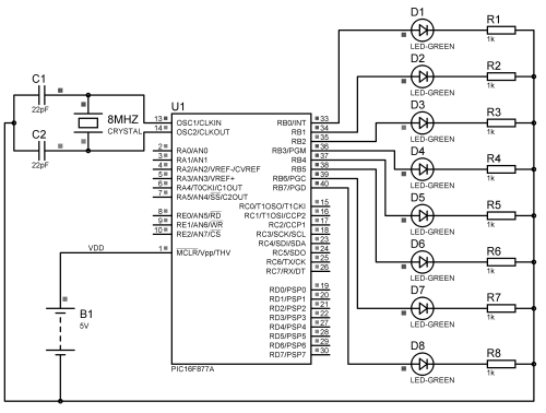 small resolution of led chaser using pic microcontroller mikroc pic18f1220 blinking led circuit schematic