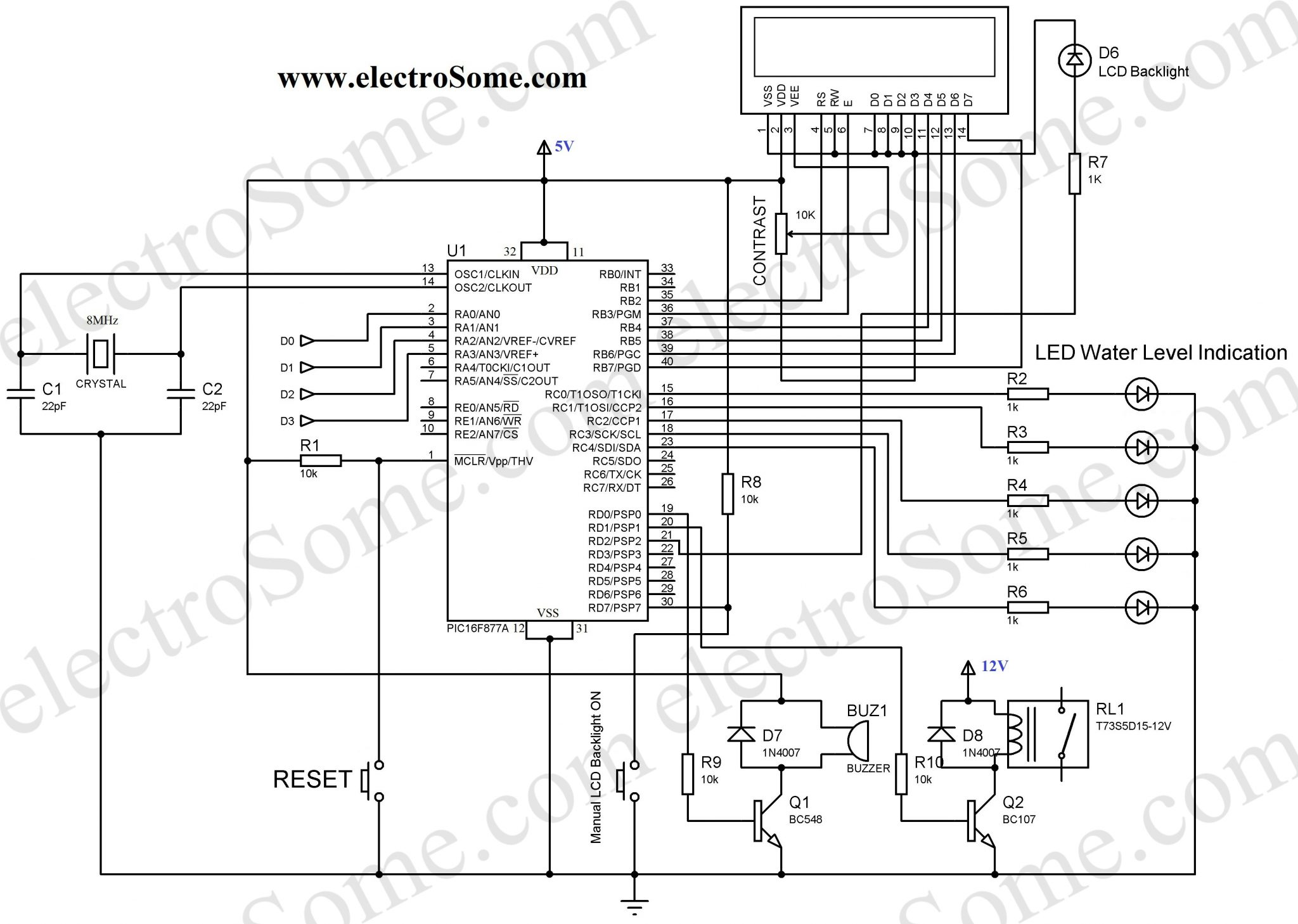 liquid level controller circuit diagram pert template water indicator using pic microcontroller
