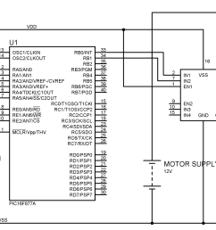 interfacing dc motor with pic microcontroller using l293d mikroc brushless dc motor control circuit schematic using microchip pic16f877 [ 3255 x 1616 Pixel ]