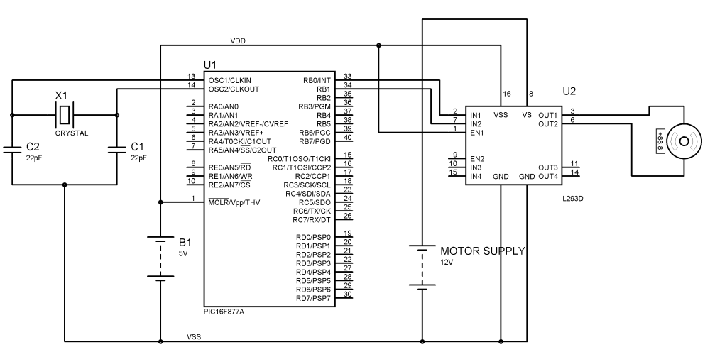medium resolution of interfacing dc motor with pic microcontroller and l293d circuit diagram