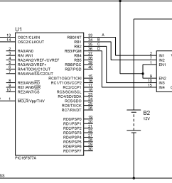 interfacing unipolar stepper motor with pic microcontroller using l293d circuit diagram [ 3415 x 1611 Pixel ]