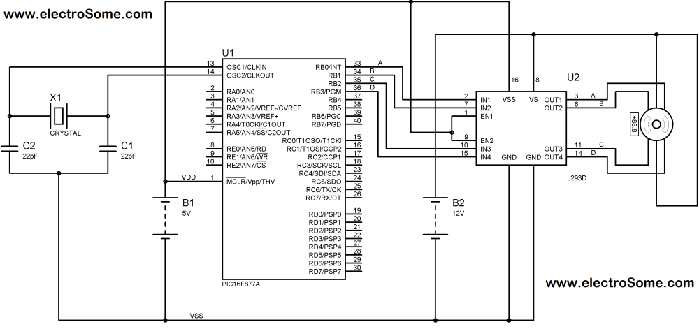 medium resolution of interfacing unipolar stepper motor with pic microcontroller using l293d circuit diagram