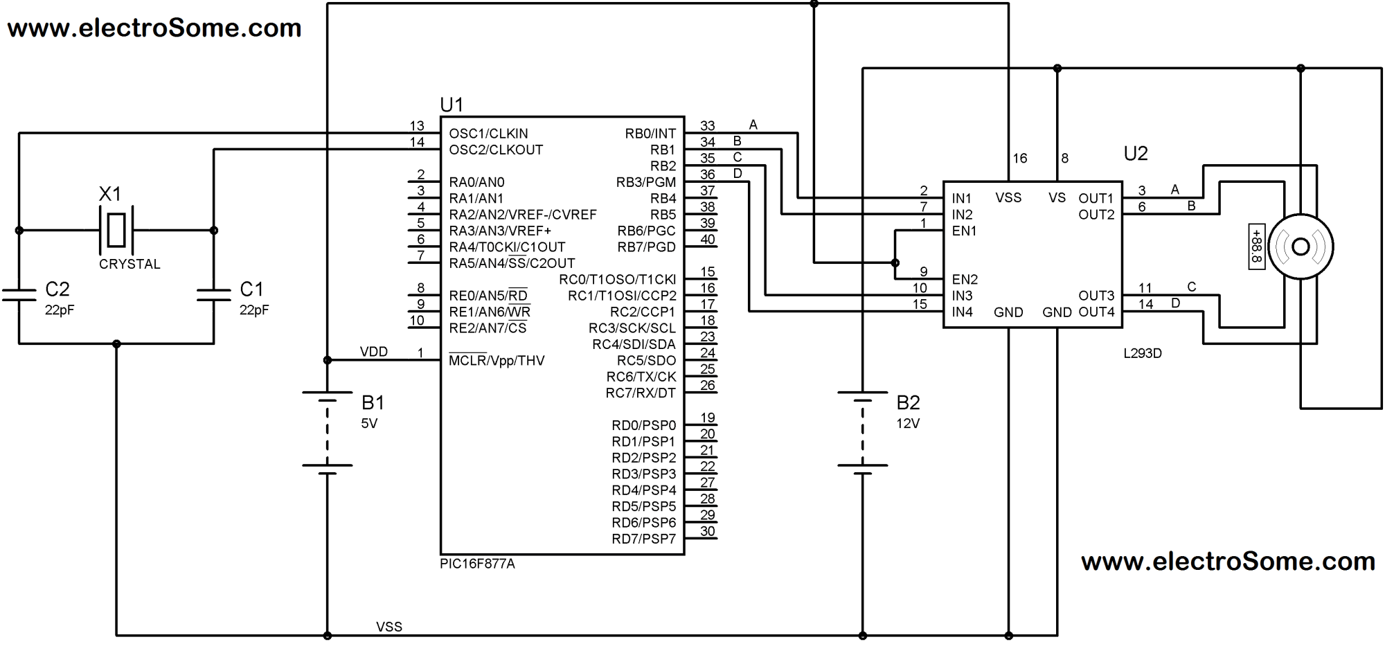 hight resolution of interfacing unipolar stepper motor with pic microcontroller using l293d circuit diagram