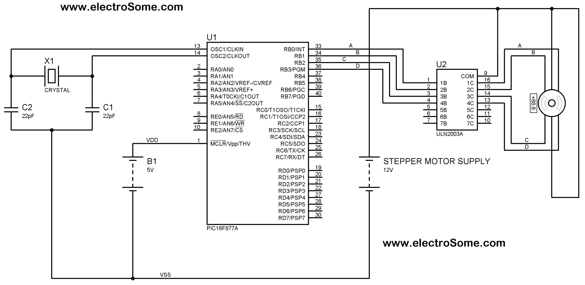 hight resolution of interfacing unipolar stepper motor with pic microcontroller using uln2003