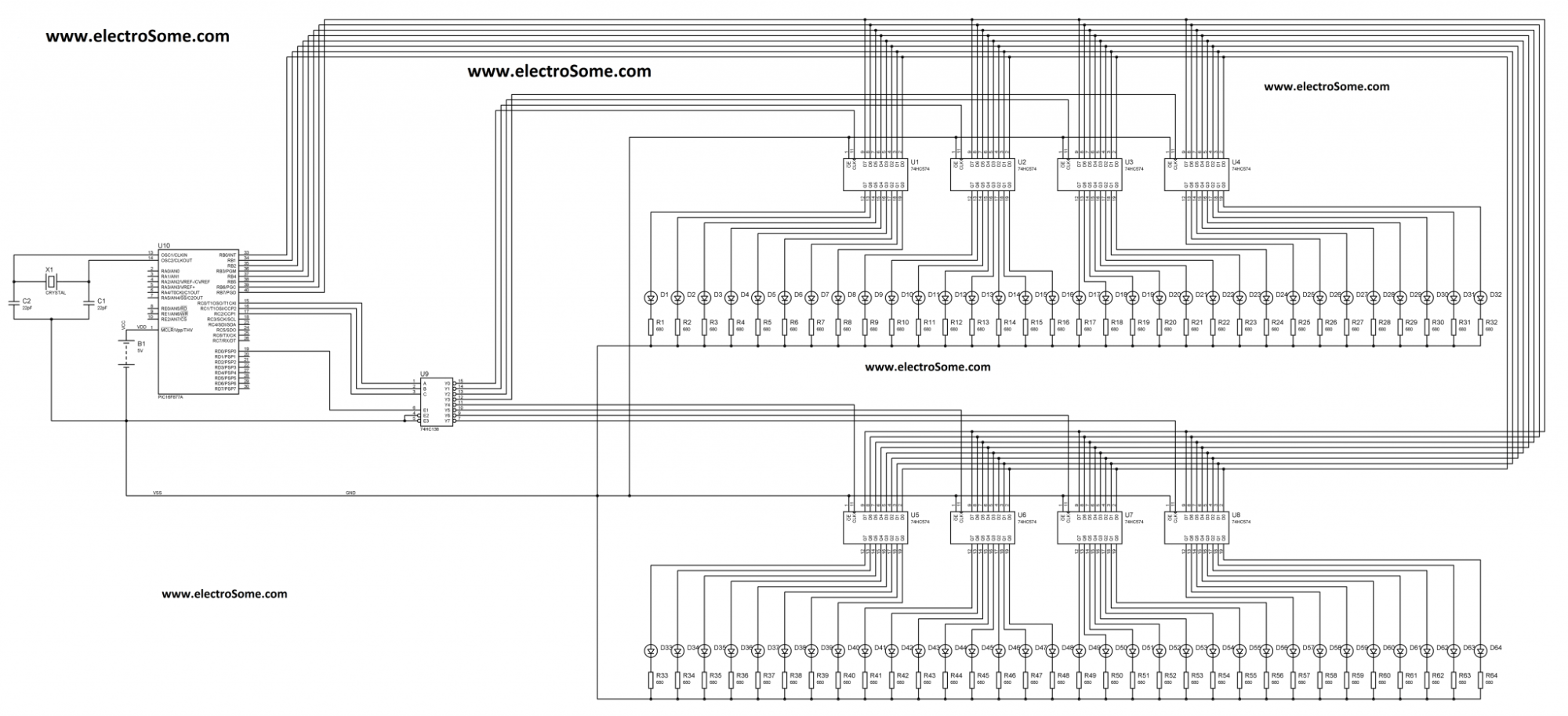 hight resolution of circuit diagram expanding output pins of a pic microcontroller through multiplexing