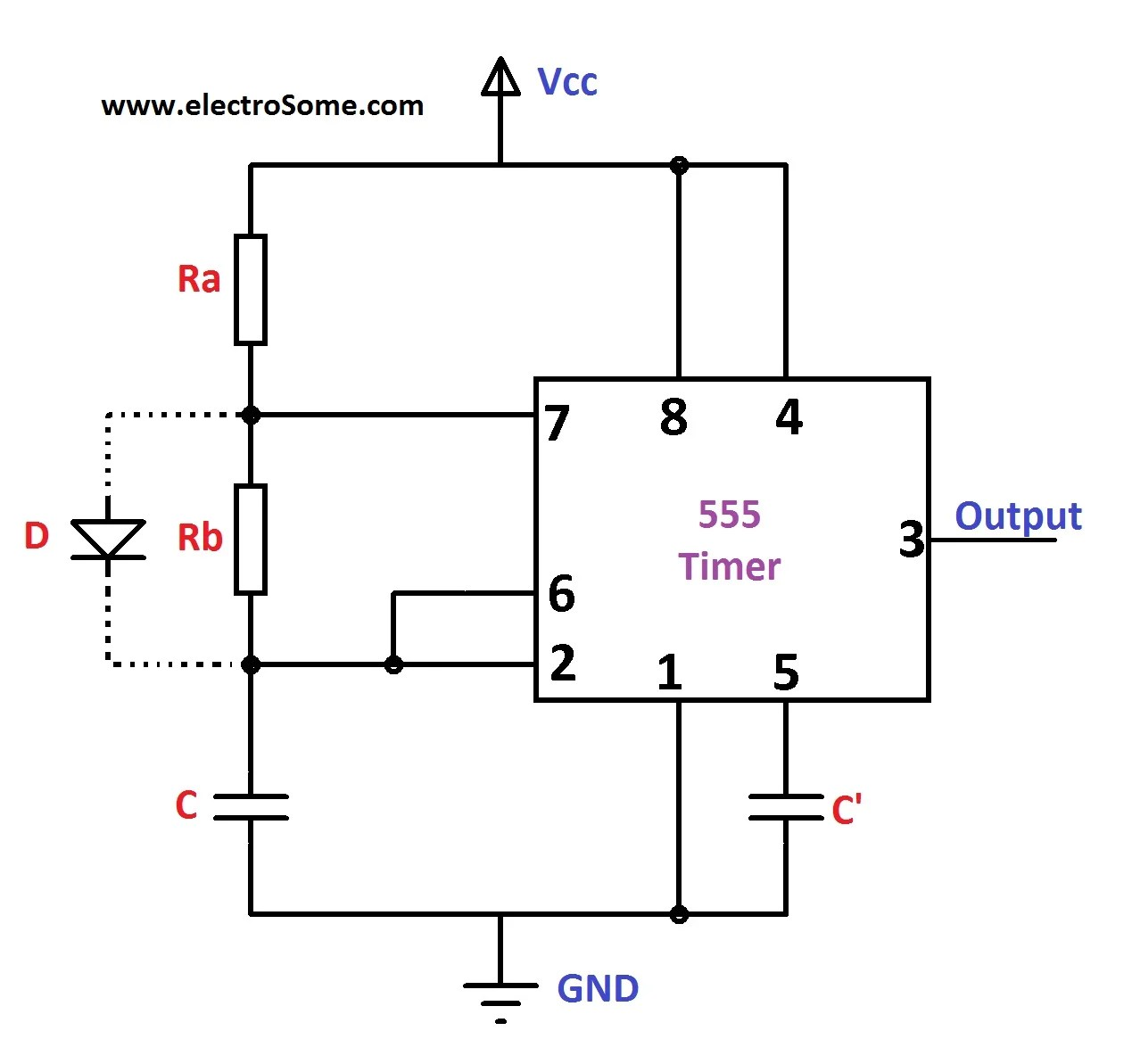 hight resolution of astable multivibrator using 555 timer circuit diagram