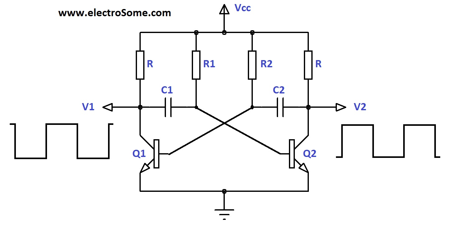 hight resolution of astable multivibrator using transistors circuit