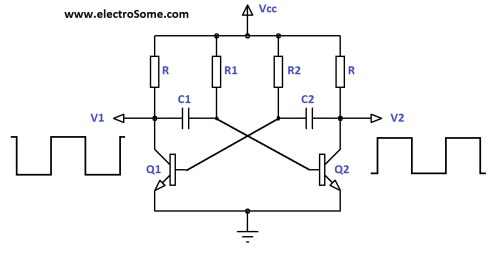 small resolution of astable multivibrator using transistors circuit