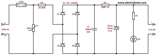 small resolution of transformerless low cost dc power supply resistive capacitive resistive transformer less power supply circuit diagram