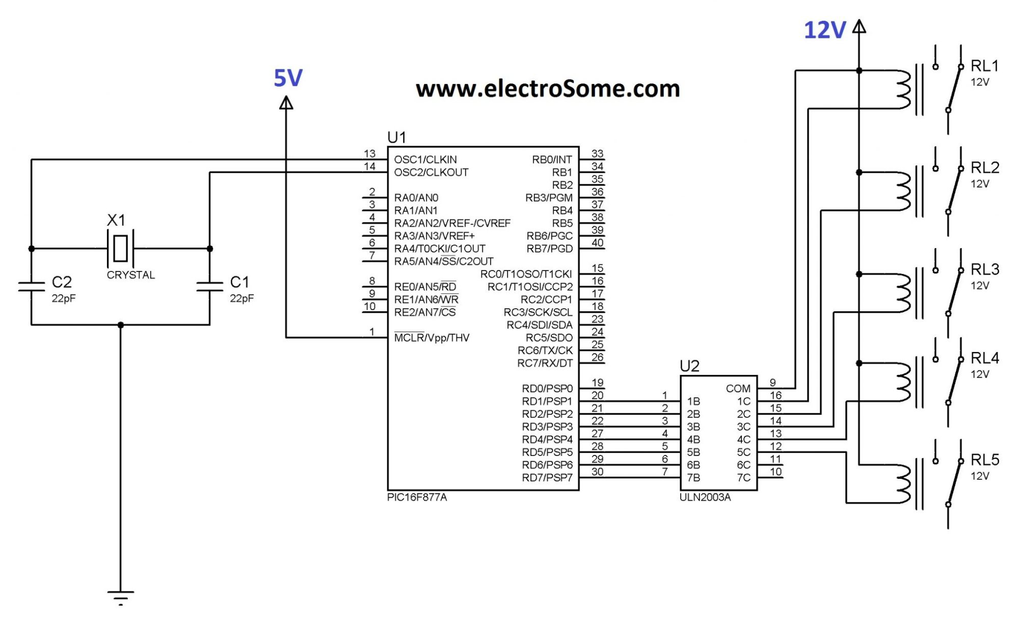 hight resolution of interfacing relay with pic microcontroller mikroc uln2803 circuit led driver time delay relay circuit diagram diagram
