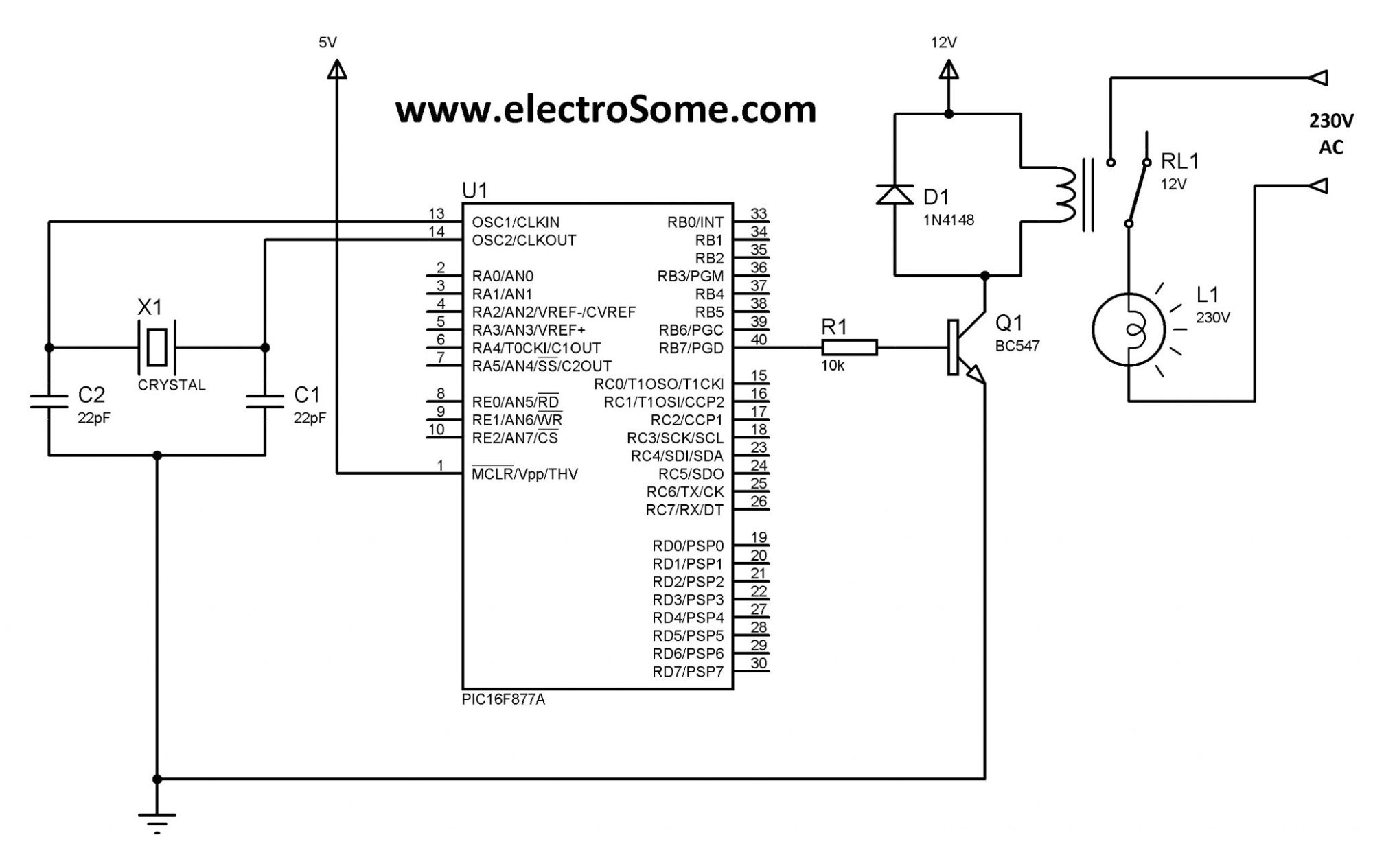 hight resolution of interfacing relay with pic using transistor