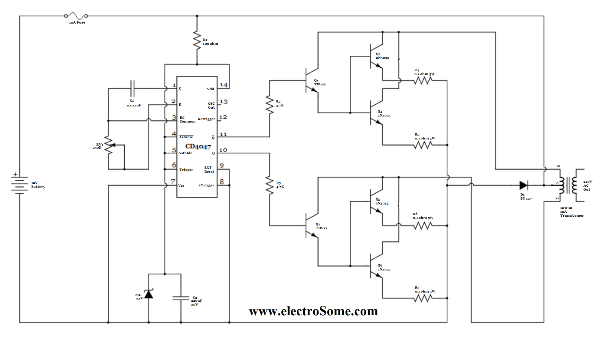 hight resolution of simple inverter circuit using cd4047