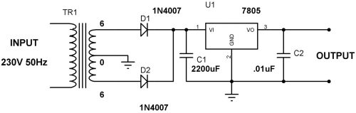 small resolution of 5v power supply circuit using 7805 voltage regulator