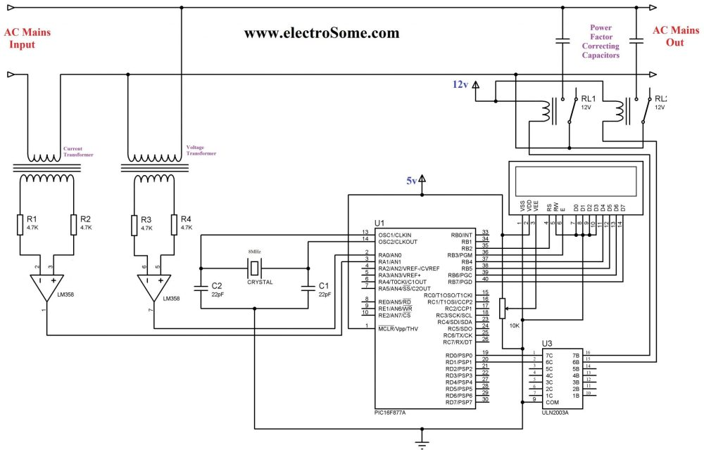 medium resolution of automatic power factor controller using pic microcontroller circuit diagram