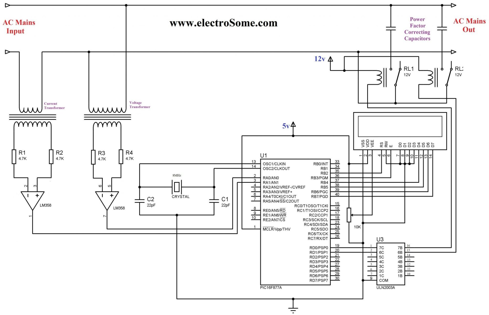 hight resolution of automatic power factor controller using pic microcontroller circuit diagram