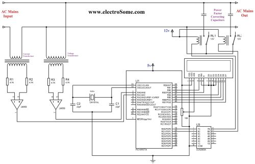 small resolution of automatic power factor controller using pic microcontroller circuit diagram