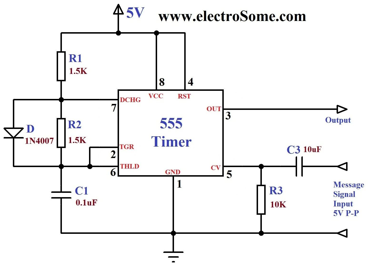 555 timer wiring diagram 99 jeep wrangler fuse electronic clock circuit free