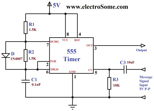small resolution of fm generation using 555 timer circuit diagram