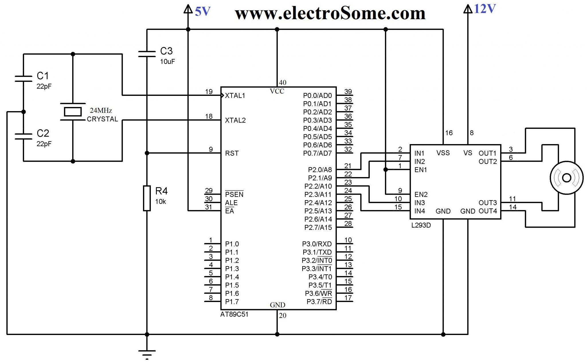 l293d motor driver circuit diagram 99 f250 radio wiring interfacing stepper with 8051 using keil c at89c51