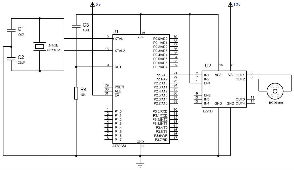 interfacing with 8051 microcontroller circuit diagram