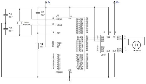 small resolution of circuit diagram interfacing dc motor with 8051 using l293d