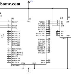 interfacing dc motor with atmega32 microcontroller circuit diagram [ 2048 x 1138 Pixel ]